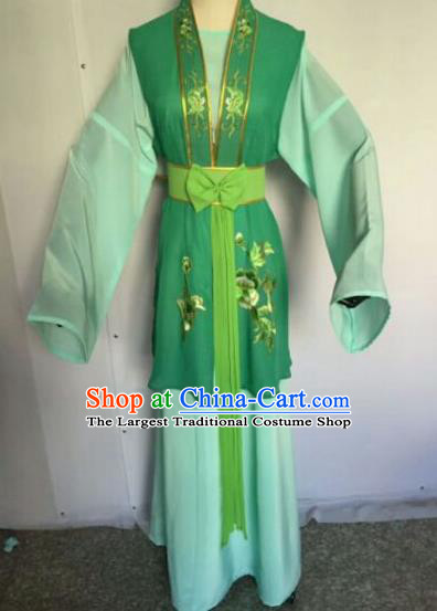 Chinese Traditional Peking Opera Artiste Costume Ancient Court Maid Embroidered Green Dress for Women