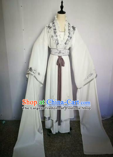 Chinese Traditional Peking Opera Artiste Costume Ancient Peri Embroidered White Dress for Women