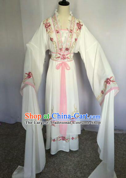 Chinese Traditional Peking Opera Artiste Costume Ancient Princess Embroidered White Dress for Women