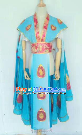 Chinese Traditional Peking Opera Artiste Costume Ancient Peri Embroidered Blue Butterfly Dress for Women