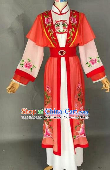 Chinese Ancient Peri Embroidered Red Dress Traditional Peking Opera Artiste Costume for Women