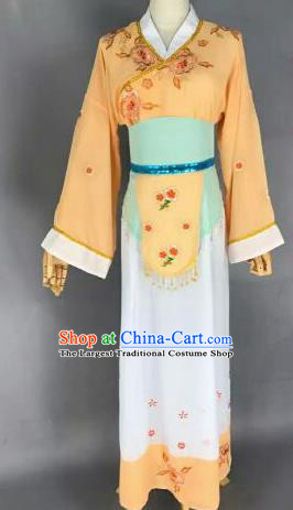 Chinese Ancient Maidservants Embroidered Yellow Dress Traditional Peking Opera Artiste Costume for Women