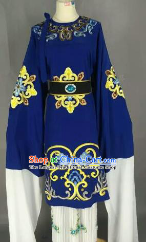 Chinese Ancient Dowager Countess Embroidered Royalblue Dress Traditional Peking Opera Pantaloon Costume for Women