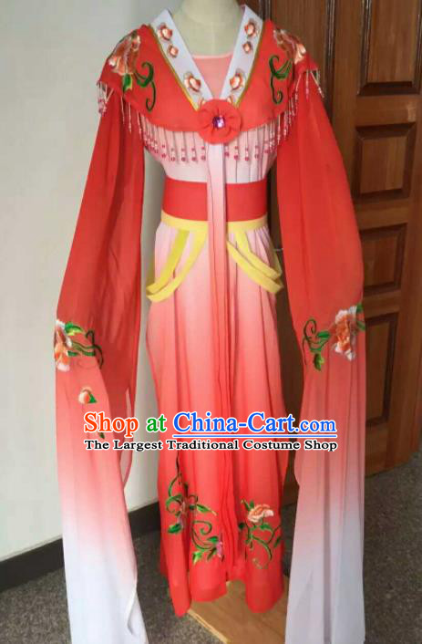 Chinese Ancient Peri Embroidered Red Dress Traditional Peking Opera Court Maid Costume for Women