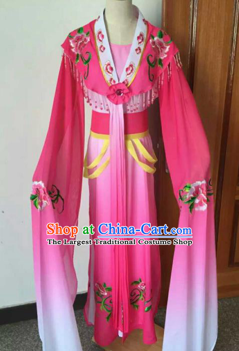 Chinese Ancient Peri Embroidered Rosy Dress Traditional Peking Opera Court Maid Costume for Women