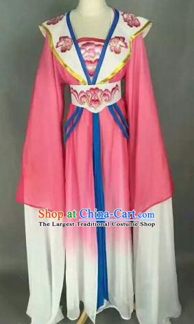 Chinese Ancient Peri Embroidered Pink Dress Traditional Peking Opera Princess Costume for Women
