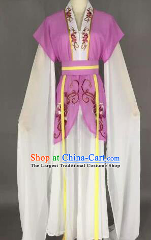 Chinese Ancient Maidservants Embroidered Purple Dress Traditional Peking Opera Court Maid Costume for Women