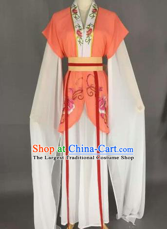 Chinese Ancient Maidservants Embroidered Orange Dress Traditional Peking Opera Court Maid Costume for Women