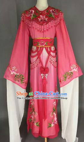Chinese Ancient Court Princess Embroidered Rosy Dress Traditional Peking Opera Artiste Costume for Women
