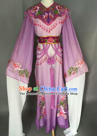 Chinese Ancient Court Princess Embroidered Purple Dress Traditional Peking Opera Artiste Costume for Women