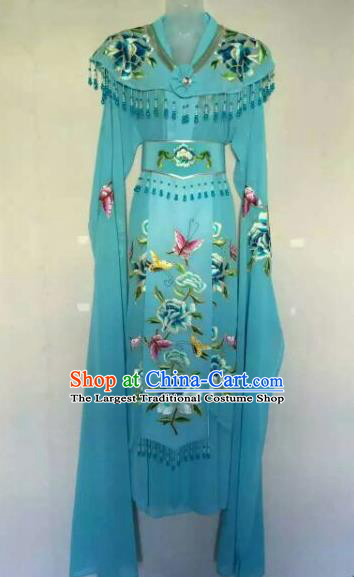 Chinese Ancient Peri Embroidered Blue Dress Traditional Peking Opera Artiste Costume for Women