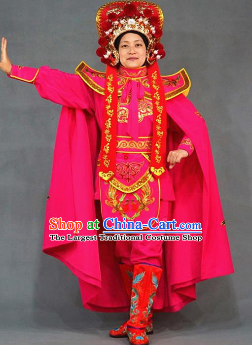 Chinese Traditional Sichuan Opera Face Changing Embroidered Rosy Costume Complete Set