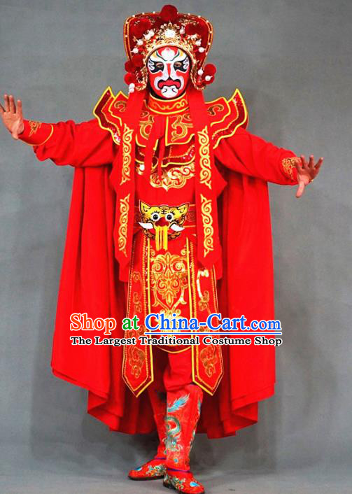 Chinese Traditional Sichuan Opera Face Changing Red Embroidered Costume and Hat Complete Set