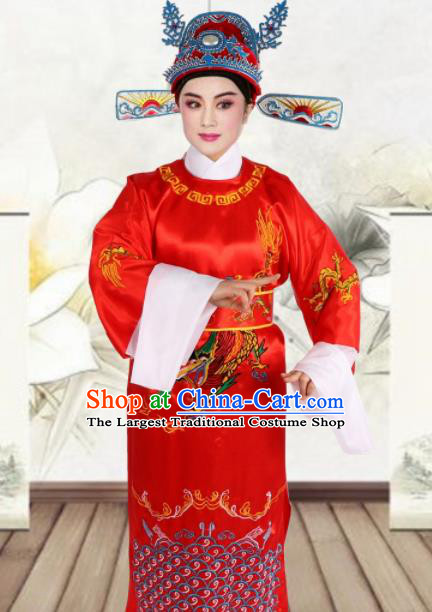 Chinese Ancient Number One Scholar Embroidered Red Robe Traditional Peking Opera Niche Costume for Men