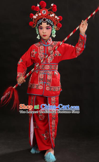 Professional Chinese Traditional Beijing Opera Blues Costume Ancient Swordswomen Red Clothing for Kids