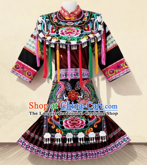 Chinese Traditional Ethnic Folk Dance Costume Miao Nationality Embroidered Dress for Women