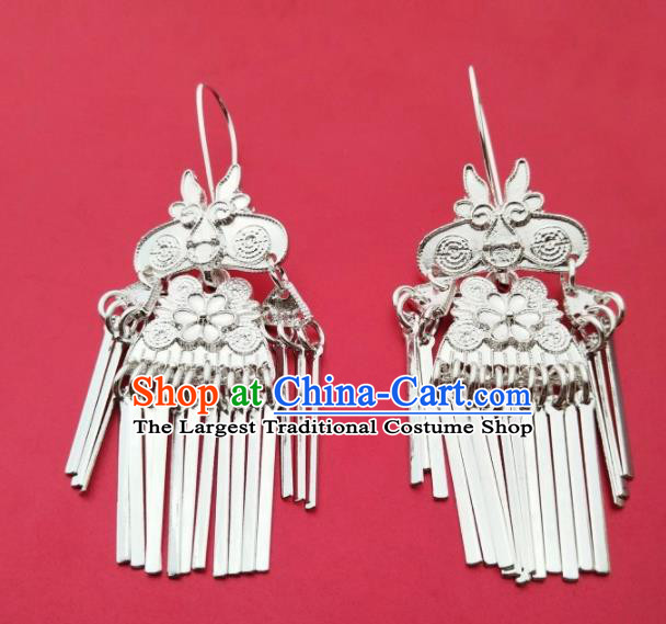 Chinese Traditional Ethnic Ear Accessories Miao Nationality Silver Tassel Earrings for Women
