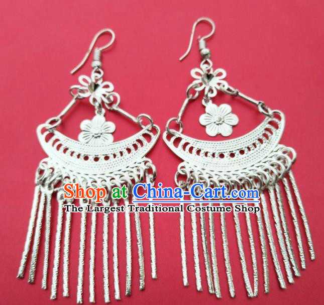 Chinese Traditional Ethnic Ear Accessories Miao Nationality Silver Flower Tassel Earrings for Women