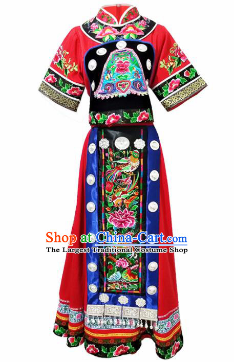 Chinese Traditional Ethnic Folk Dance Costume Miao Nationality Bride Wedding Dress for Women