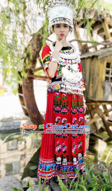 Chinese Traditional Ethnic Folk Dance Costume Miao Nationality Bride Wedding Red Embroidered Dress for Women
