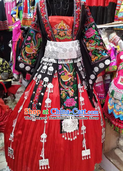 Chinese Traditional Hmong Ethnic Wedding Costume China Miao Nationality Folk Dance Embroidered Red Dress for Women