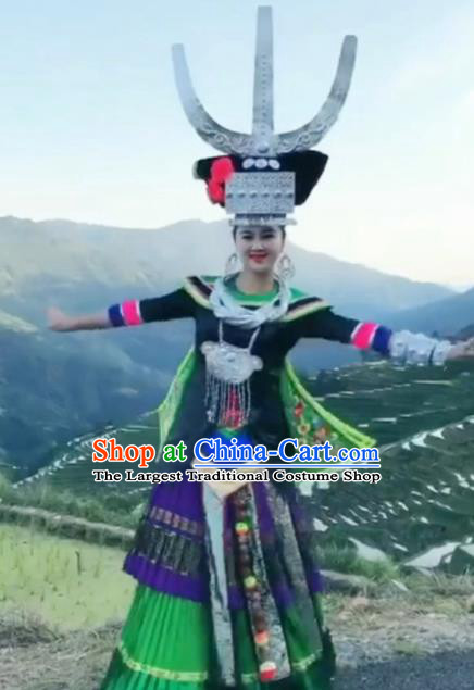 Chinese Traditional Hmong Ethnic Wedding Costume China Miao Nationality Folk Dance Embroidered Green Dress for Women