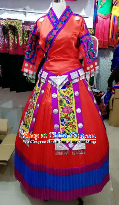 Chinese Traditional Hmong Ethnic Costume Miao Nationality Folk Dance Red Dress for Women