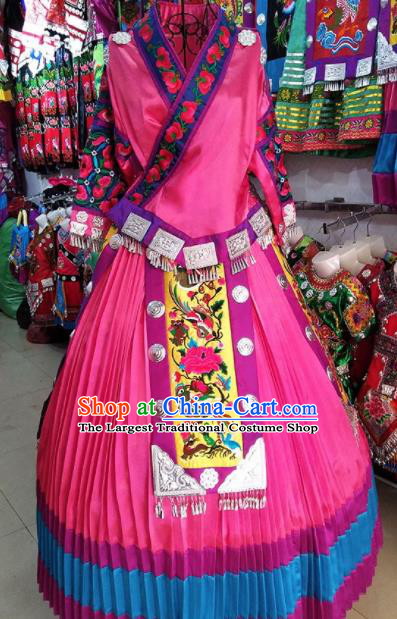 Chinese Traditional Hmong Ethnic Costume Miao Nationality Folk Dance Pink Dress for Women