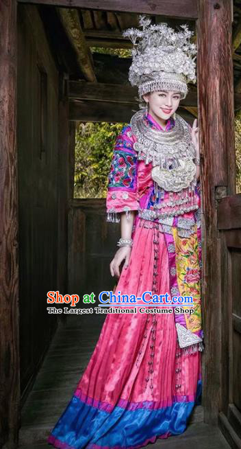 Chinese Traditional Hmong Ethnic Costume Miao Nationality Folk Dance Wedding Dress and Headdress for Women