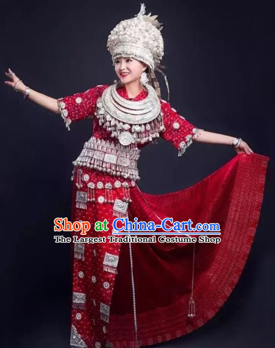 Chinese Traditional Hmong Ethnic Wedding Costume Miao Nationality Folk Dance Red Pleated Skirt and Headdress for Women