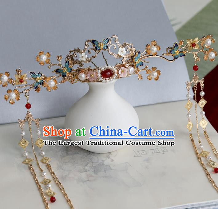 Chinese Traditional Hanfu Hair Accessories Ancient Princess Phoenix Coronet Tassel Hairpins for Women