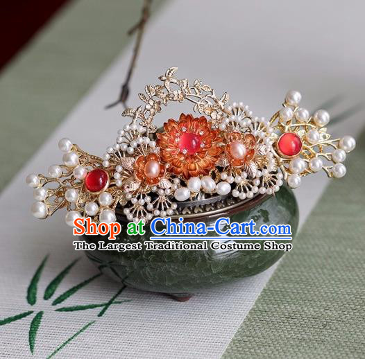 Chinese Traditional Hanfu Hair Accessories Ancient Princess Golden Pine Hairpins for Women
