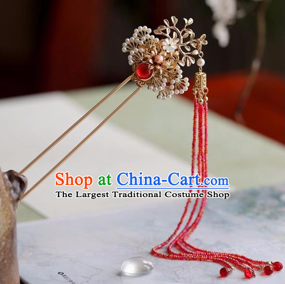 Chinese Traditional Hanfu Hair Accessories Ancient Princess Red Beads Tassel Pine Hairpins for Women