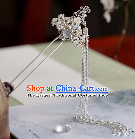 Chinese Traditional Hanfu Hair Accessories Ancient Princess White Beads Tassel Pine Hairpins for Women