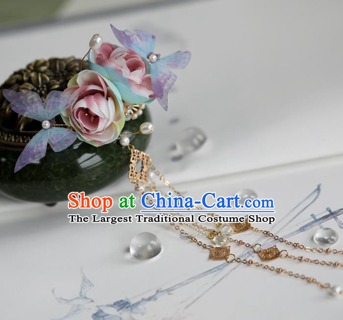 Chinese Traditional Hanfu Hair Accessories Ancient Princess Roses Butterfly Hair Claw Hairpins for Women