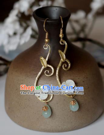 Chinese Traditional Hanfu Ear Accessories Ancient Princess Jade Earrings for Women