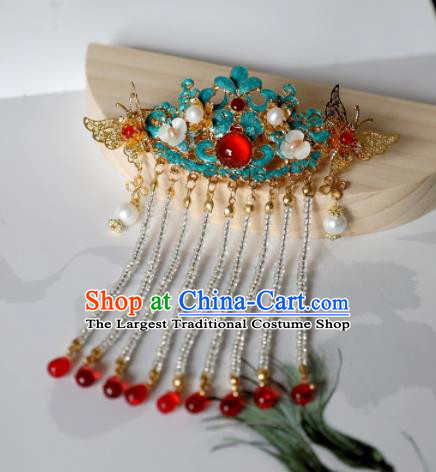 Chinese Ancient Princess Agate Tassel Hairpins Traditional Hanfu Hair Accessories for Women