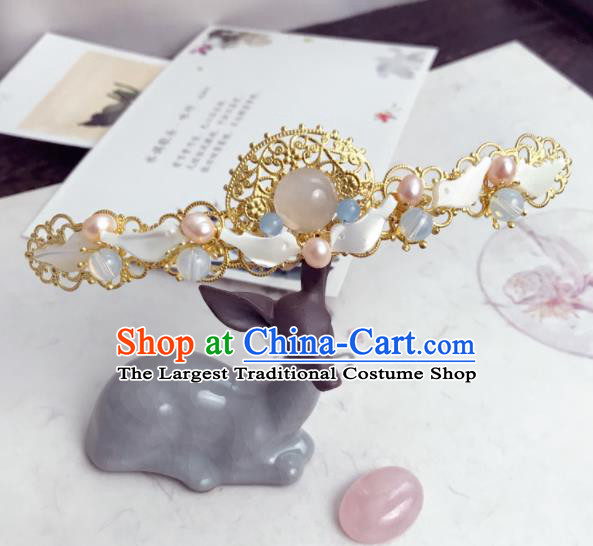 Chinese Ancient Princess Hairpins Rose Chalcedony Pearls Hair Crown Traditional Hanfu Hair Accessories for Women