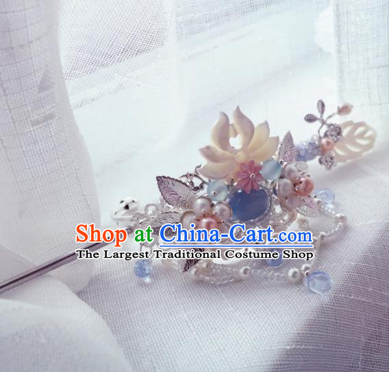 Chinese Ancient Princess Hairpins Shell Lotus Hair Crown Traditional Hanfu Hair Accessories for Women