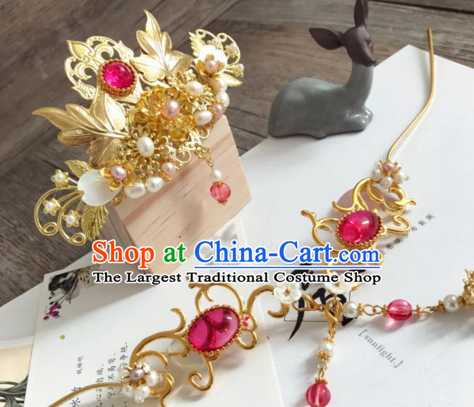 Chinese Ancient Princess Pearls Golden Hair Crown Hairpins Traditional Hanfu Hair Accessories for Women