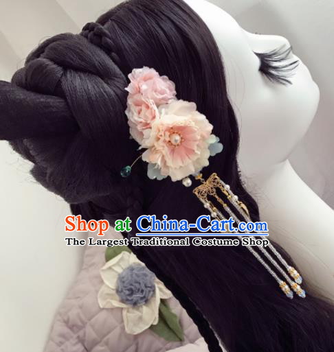 Chinese Ancient Princess Pink Flowers Tassel Hairpins Traditional Hanfu Hair Accessories for Women