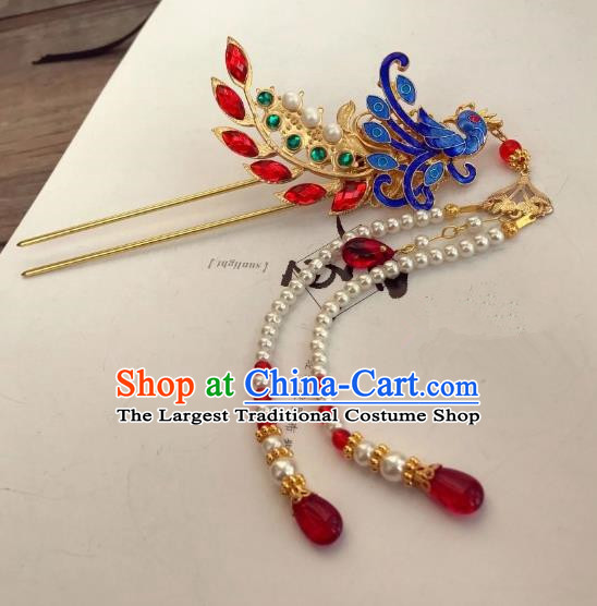 Chinese Ancient Princess Blueing Phoenix Tassel Hairpins Traditional Hanfu Hair Accessories for Women