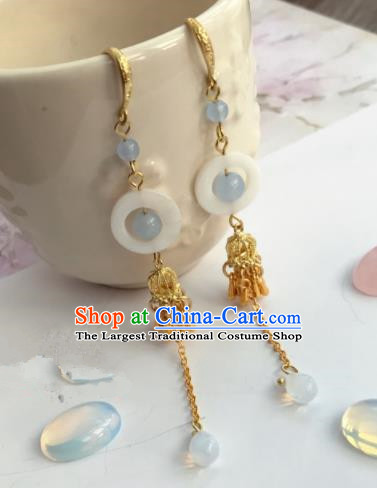 Chinese Traditional Hanfu Golden Ear Accessories Ancient Princess Hanfu Jade Earrings for Women
