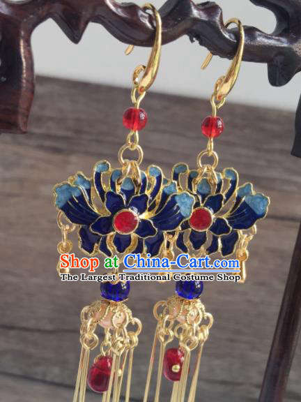 Chinese Traditional Hanfu Ear Accessories Ancient Princess Hanfu Blueing Chrysanthemum Earrings for Women