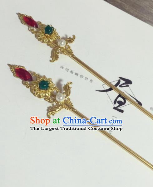 Chinese Ancient Princess Brass Hairpins Traditional Hanfu Hair Accessories for Women