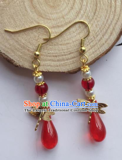 Chinese Traditional Hanfu Ear Accessories Ancient Princess Hanfu Dragonfly Earrings for Women