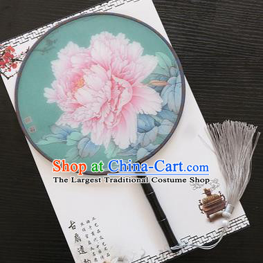 Chinese Traditional Palace Fans Ancient Princess Printing Peony Green Round Fans for Women