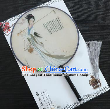 Chinese Traditional Palace Fans Ancient Princess Printing Round Fans for Women