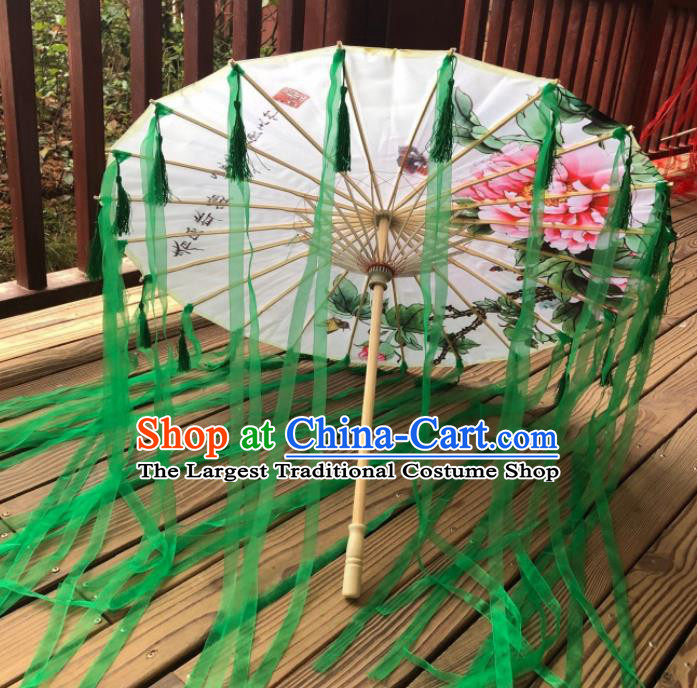 Chinese Ancient Drama Prop Printing Umbrella Traditional Handmade Green Ribbon Umbrellas