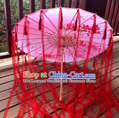 Chinese Ancient Drama Prop Printing Flowers Umbrella Traditional Handmade Red Ribbon Umbrellas